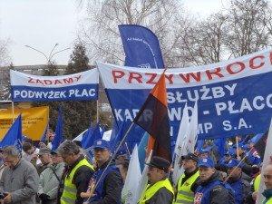 Pikieta przed budynkiem Adm. Arcelormittal Poland S.A. w dniu 4.04.2013 rok